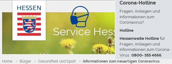 Corona-Hotline Hessen