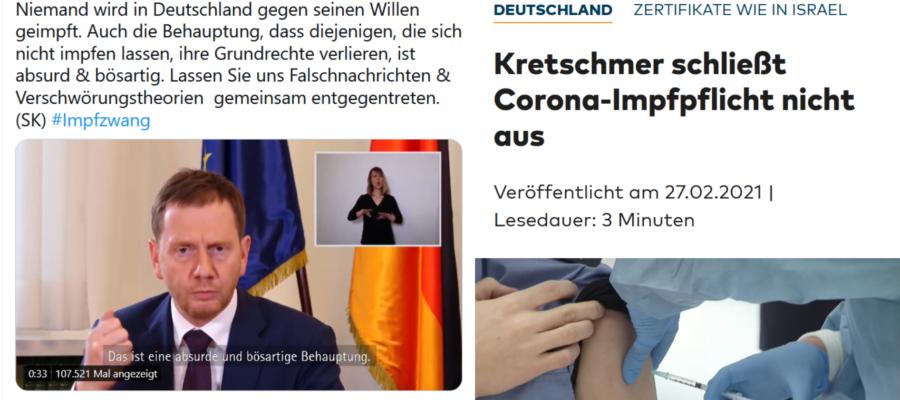 Kretschmer zum Impfzwang - 05.05.2020 vs 27.02.2021