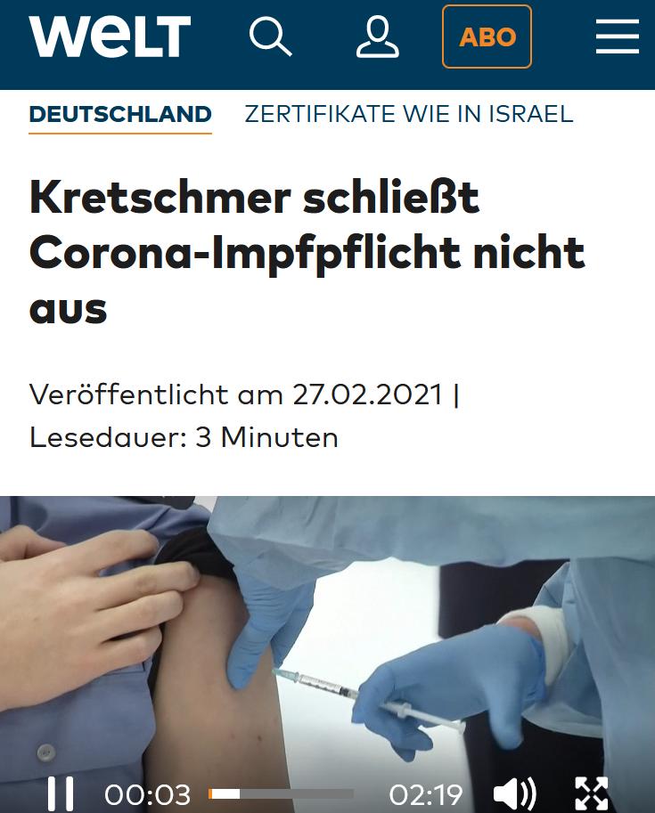 27.02.2021: Kretschmer schließt Corona-Impfpflicht nicht aus