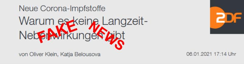 Fake News ZDF Langzeit-Nebenwirkungen